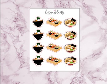Ramen/Sushi - Hand drawn Functional Planner Stickers Erin Condren Life Planner Mambi Happy Planner Personal Travelers Notebook TN