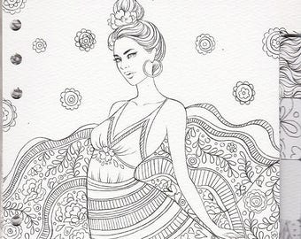 My Prima Planner Set#4 Prima Princesses Coloring Tabbed Dividers Watercolor Paper Tab Coloring 6.5in x 8in 12-pc 92806