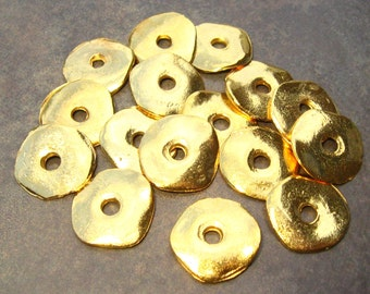 Mykonos Greek 15mm Gold Cornflake Casting Beads - 4 Wave Disk Bead