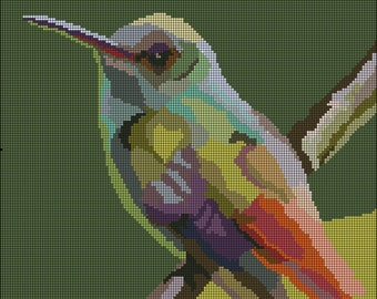 Part 1 Digital Hummingbird Needlepoint Pattern