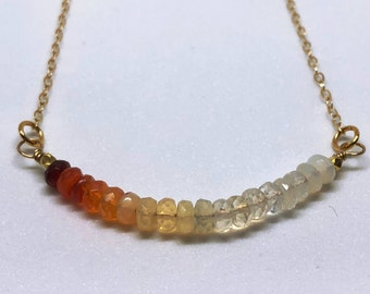 Mexican Fire Opal Gemstone Bar Necklace, Gold Filled, Dainty, Ombre, Minimalist