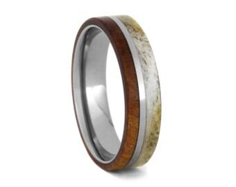 Deer Antler Wedding Band For Men, Cherry Wood Ring With Titanium Pinstripe, Men Titanium Ring