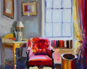 CHAISE ROUGE. Art print, Original art work, painting of beautiful interior, red chair, French window