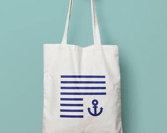 Hand painted sailor bag Tote