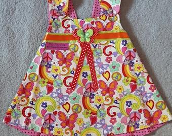 Peace Reversible Pinafore Dress