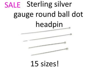 10pcs Sterling silver round ball headpin 15 SIZES Pins needle  single dot round round ball head pins sterling silver bright silver sale
