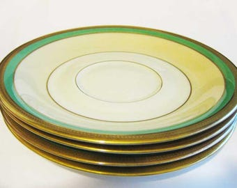 Vintage Rosenthal Gold Encrusted & Green Saucers (4) #2698