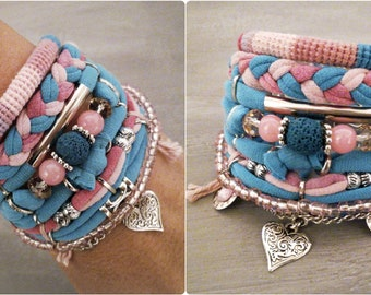 Layering Bracelets Pink Blue, Gypsy Bracelet Set Bohemian Style Hippie Jewelry T-shirt Yarn Bracelet Heart Charm