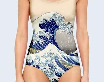 Art One Piece Swimsuit, Big Wave Swimsuit, Bathing Suit, Swimwear, Swimming Suit, Swimsuit for Women, One Piece Bathing Suit, Women Swimwear