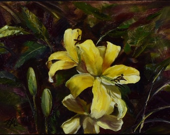 Yellow Lilies. Original oil painting. Oil on canvas.