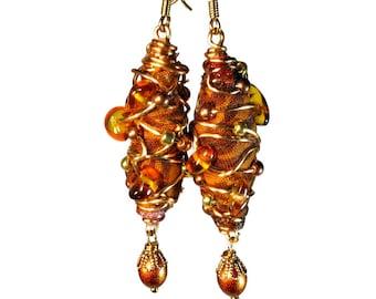 Earthy Amber Brown Dangle Earrings, For Fall, Fabric Earrings, Fiber Art, Handcrafted Jewelry, Fall Colors