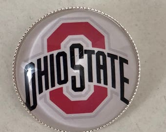 Ohio State Buckeyes Scarlet And Gray Glass Silver Tone Pin New