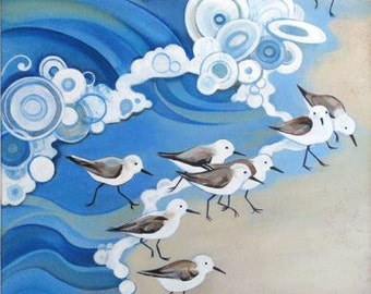 Sandpipers print on canvas or paper