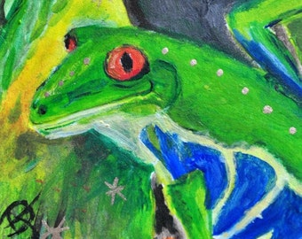 Tree Frog Acrylic Painting, small format, Frog in rain forest, home accent