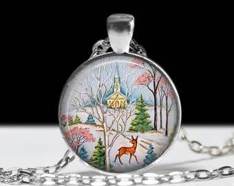 Retro Christmas Necklace Christmas Necklace Christmas Jewelry Christmas Pendant