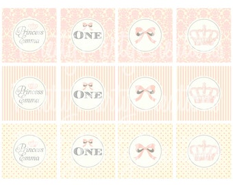 VINTAGE PRINCESS cupcake toppers/favor tags - YOU Print