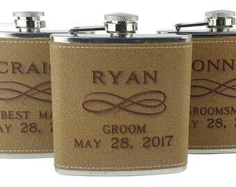 Set of 9 Flasks, Personalized Flask, Faux Leather Flask, Groomsmen Flask, Gift Set, Wedding Party Gift,  Hip Flask, Groomsman Gift Set
