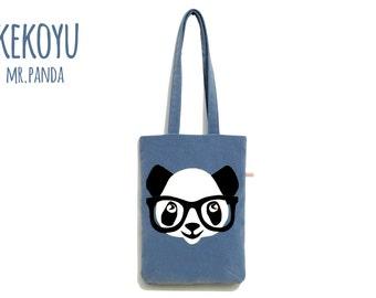 Tote Bag Mr.Panda iPad Pro Bag Denim Handmade Unique Handbag / MacBook 12 Bag MacBook Air 13 Bag MacBook Pro 13 Bag iPad Pro Bag