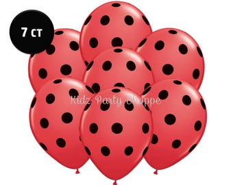 """Red & Black Polka Dot Ladybug Balloons [7ct] 11"""" Printed Latex Birthday Party Shower Decorations Photo Props Supplies Supply"""
