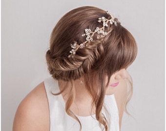 Gold Bridal Hair Vine, Gold Bridal Headpiece, Bridal Halo, Bridal Headband
