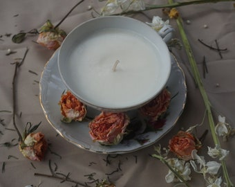 Rosebud Tea Cup Soy Candle
