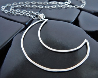Sterling Silver Crescent Moon Pendant, Eclipse Jewelry, Moon Phase Necklace, Moon Pendant Necklace, Open Crescent, Silver Moon Necklace