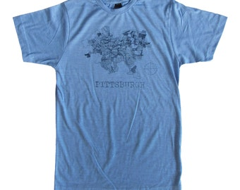 SUPER SOFT Vintage Feel Tee - Pittsburgh 1940 Map in Blue on Athletic Blue Heather Tee