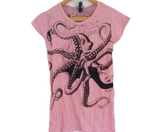 Pink shirt octopus print short sleeve wrinkled t shirt XS S M cotton shirt women