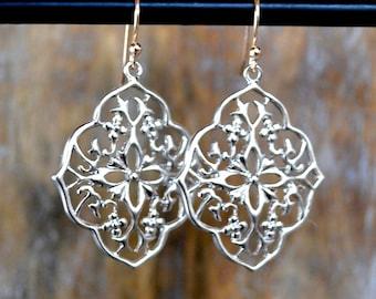 Silver Filigree Boho Earrings