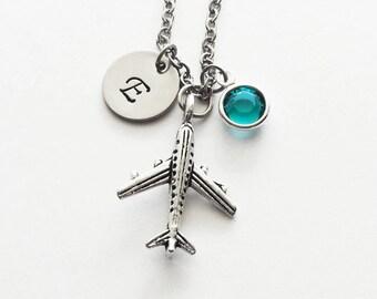 Airplane Necklace, Jet Plane, Pilot Gift, Aviation Jewelry, Silver Initial, Swarovski Birthstone,Personalized, Monogram, Hand Stamped Letter