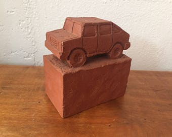 Ceramic Car / Brick Sculpture / Fine Art Ceramics / Pottery made by Keith Simpson / Unique Bookends / Hummer
