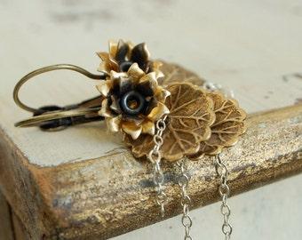 lily pad earrings, edgy modern jewelry, metal lilypad, layered fringe dangles, waterlily lotus, mixed metal, urban botanical, nature jewelry