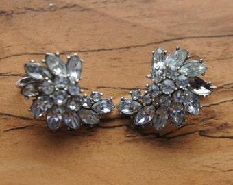 Jewelry Signed Coro Rhinestone Earrings Screw Back O-0097