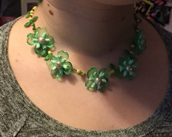 Celluloid and rhinestone green flower necklace