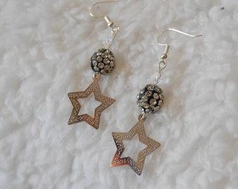 Earrings star and rhinestone beads