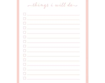 Pink/Blush To-Do Notepad 50 lined sheets