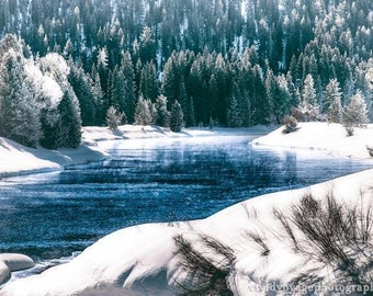 Winter Photography, River Photo, Winter Forest, Grand Teton National Park, Western Decor, Art For Men, Snow Photo, Wyoming Photography