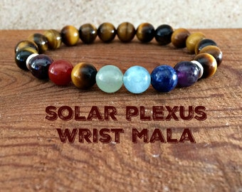 Solar Plexus Chakra Bracelet, Manipura Jewelry, Tiger Eye Yoga Mala Beads, Mantra Meditation,  Self-Esteem-Personal Power-Self Discipline