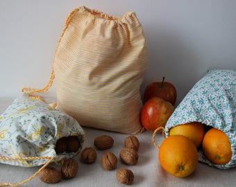 3 sacs de courses réutilisables zéro déchets en tissu couleur jaune blanc et vert et lien coulissant, tote bag sac à vrac sac à provisions
