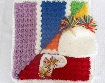 Rainbow Crochet Baby Blanket, Hat and Booties Set