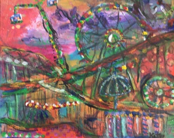 Original Painting - Carnival Night - 12 x 12 - Impressionist Fairground - Abstract