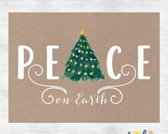 Peace on earth holiday cards / Christmas cards  / Christmas greeting cards / Holiday card set / printed cards