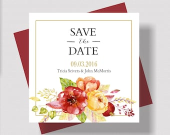 AUTUMN Save the Date Cards Watercolor Floral | Rustic Fall Wedding Save the Date Cards | Beautiful Fall Save the Date Gold and Burgundy