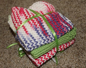 Dishcloths- Hand-knit Set of 3 in green, pink and purple