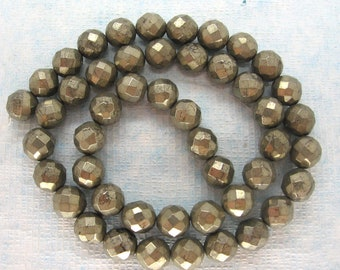 """Golden Pyrite Faceted Round Beads 8mm  - Full 15.5"""" Strand"""