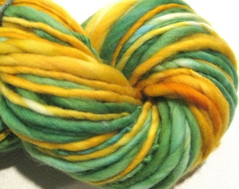 Super Bulky Handspun Yarn Daffodils 90 yards hand dyed merino green yellow waldorf doll hair knitting supplies crochet supplies