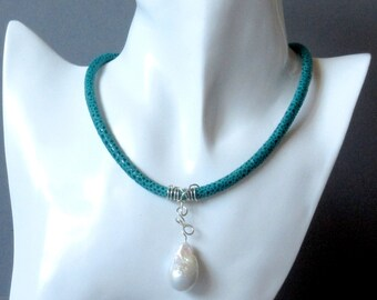 Pearl Necklace Baroque Pearl turquoise suede leather necklace with Rochenprint