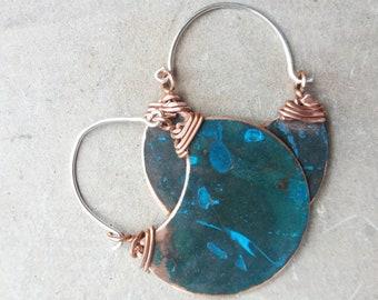Boho earrings. Tribal earrings. Hoop Earrings. Half moon earrings. Bohemian earrings. Moon earrings. Crescent moon earrings. Copper earrings