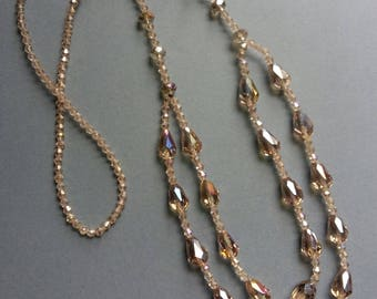 Long Vintage Style Acrylic Bead Necklace in Champagne