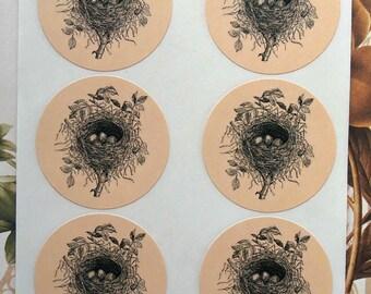 Stickers Vintage Style Bird Nest Envelope Seals Wedding Party Favor Treat Bag Sticker SP007